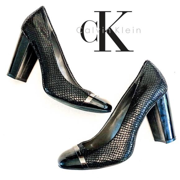 9b4d4e9ebb3c8 Calvin Klein Shoes | Ck Black Blaine Snakeskin Cap Toe Block Heels 9 ...